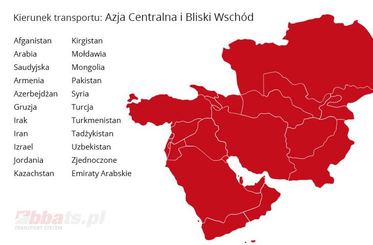 BBA Transport System. Direction: Central Asia and the Middle East: Afghanistan, Saudi Arabia, Armenia, Azerbaijan, Georgia, Iraq, Iran, Israel, Jordan, Kazakhstan, Kyrgyzstan, Moldova, Mongolia, Pakistan, Syria, Turkey, Turkmenistan, Tajikistan, Uzbekistan, United Arab Emirates.