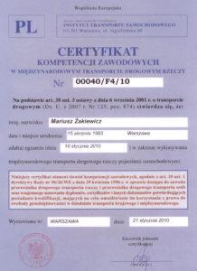 BBA Transport Certyfikat CKZ