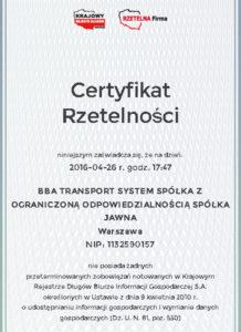 BBA Transport Certyfikat Rzetelna Firma