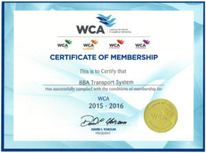 BBA Transport Certyfikat WCA