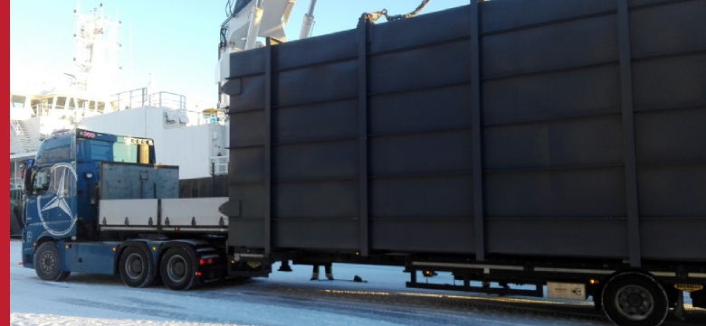 Project Cargo, oversized transport - collection of cargo in a port in Norway